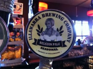 The Belgian Pale beer tap at the Illawarra Brewery. To the best of my knowledge the young lady on the tap does NOT work for the Illawarra Brewing Company. Which is a bit of a shame.
