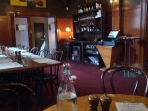 The big empty dining room at the Royston Hotel.