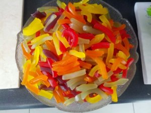 This is what 2kg of lolly snakes looks like after you cut them up in preparation for the boil.