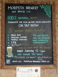 The blackboard outside the Commercial Hotel at Morpeth, which formed part of my birthday celebrations