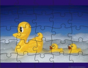 My geographical knowledge of Sydney is like this jigsaw puzzle. Except for the fact that it's put together. And that it features ducks.
