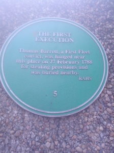 The plaque on the corner of Harrington and Essex streets that marks where Barrett was hanged.