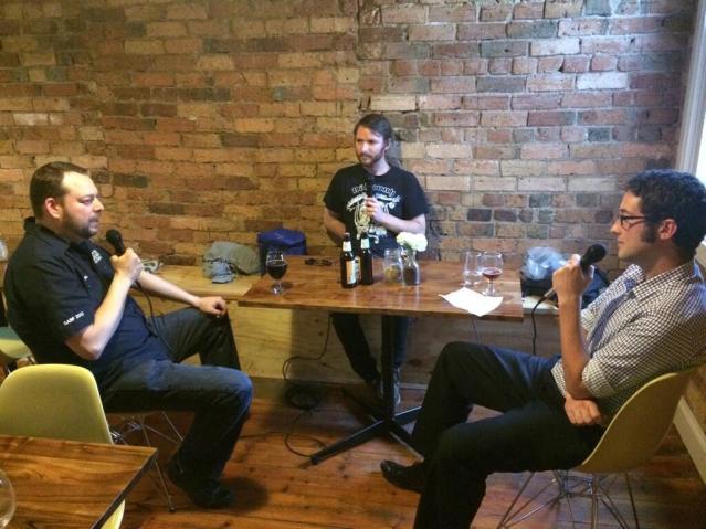 Luke (centre) and Dave interview Kris Scholl from Deschutes