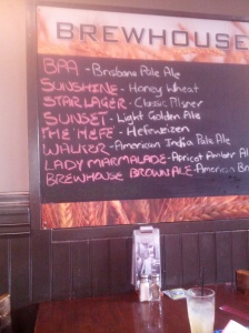 The Brisbane Brewhouse beer list - they'd run out of all but three by the time I got there.