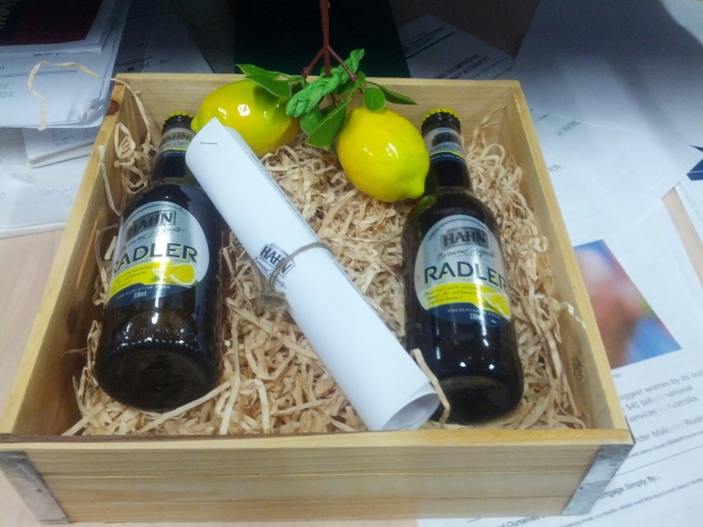 The Hahn Radler media kit, complete with appropriately fake lemons.